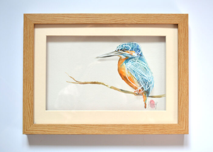 Kingfisher Bird Skeleton Painting 1