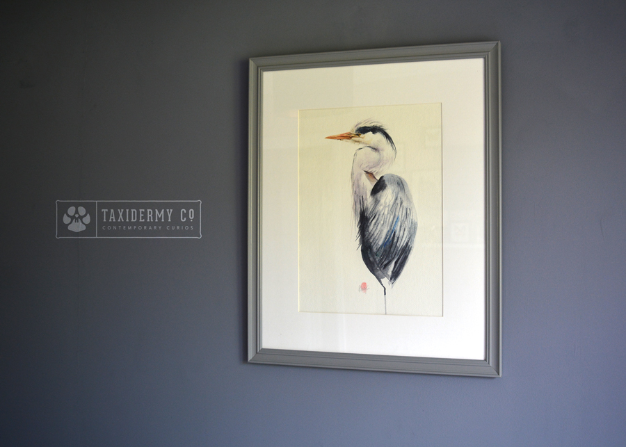 Grey Heron Painting Wildlife Watercolour