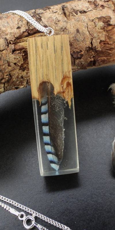 Resin and wood feather necklace taxidermy